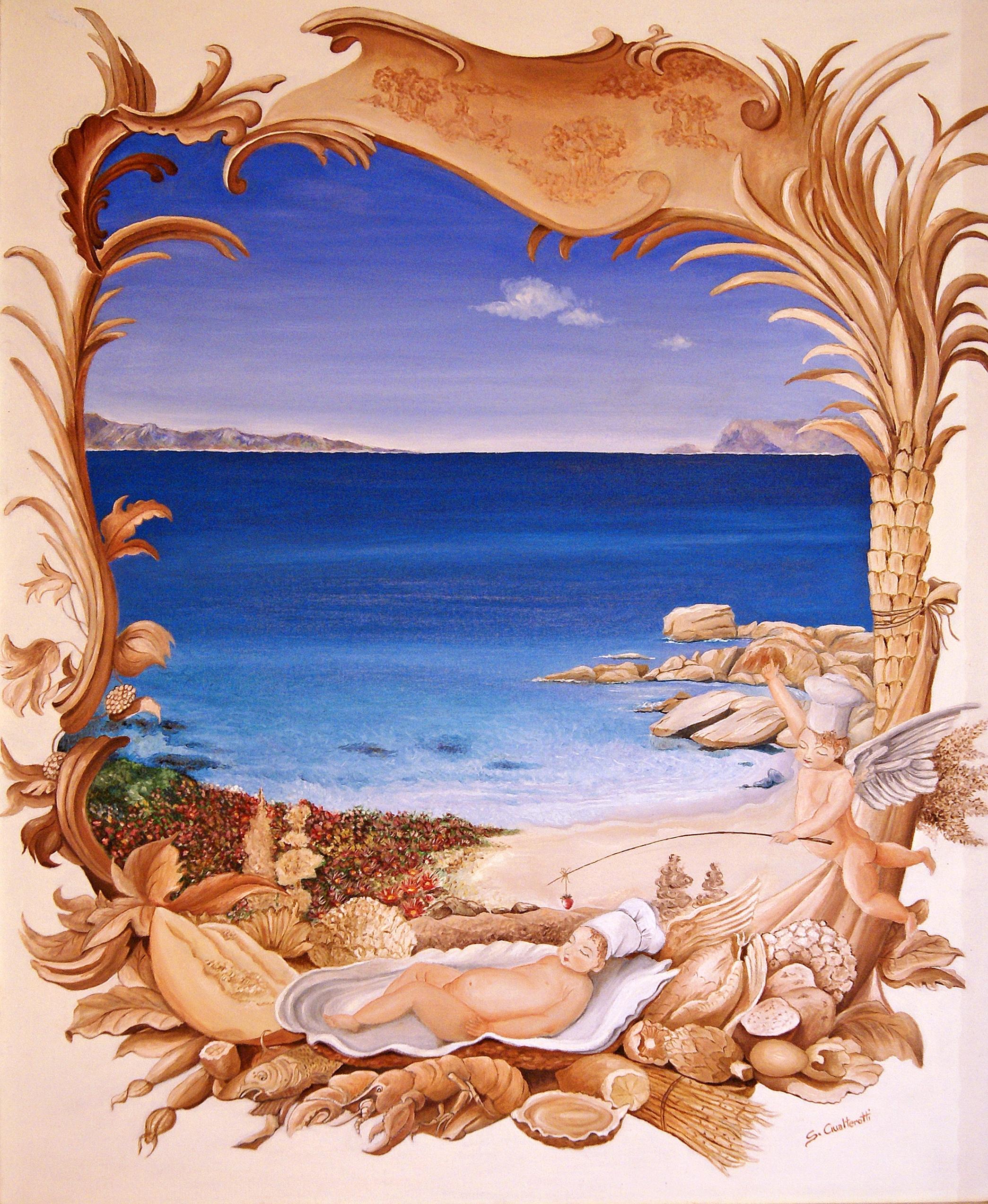 Amorini cuochi in relax -olio si tela 70 x 100