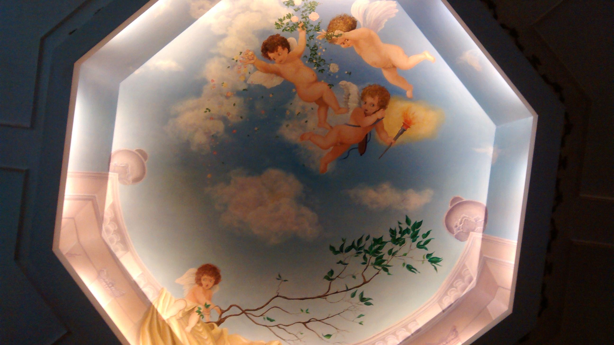 Decorazione d'interni - Trompe L'oeil - La Cupola - Pittura - olio su legno - diametro 204 cm