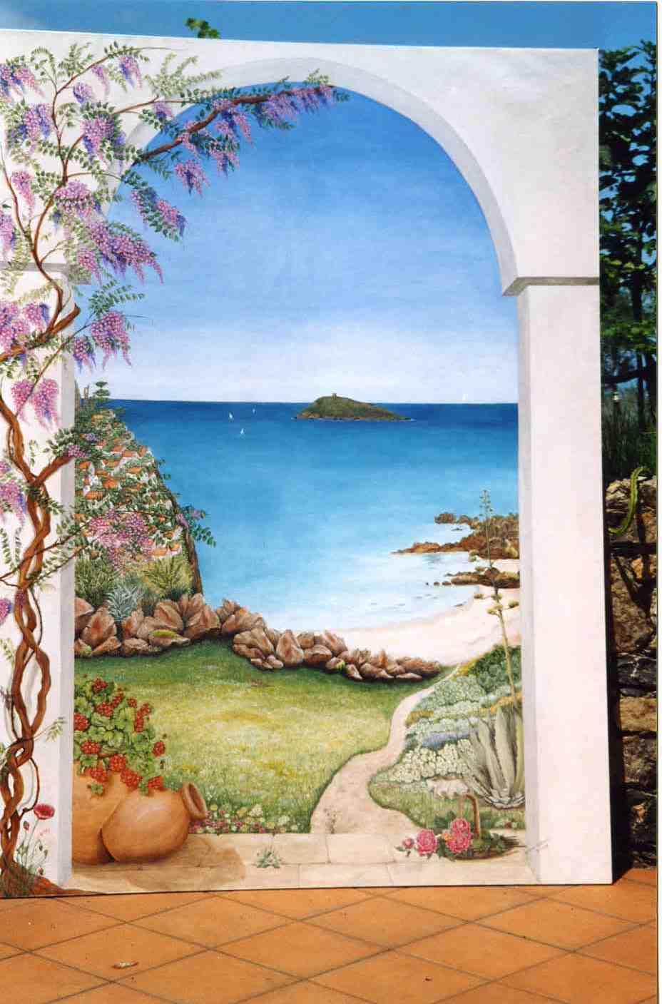 Decorazione di interni - trompe l'oeil - L'isola di Cirella e il confronto fra dipinto e realtà
