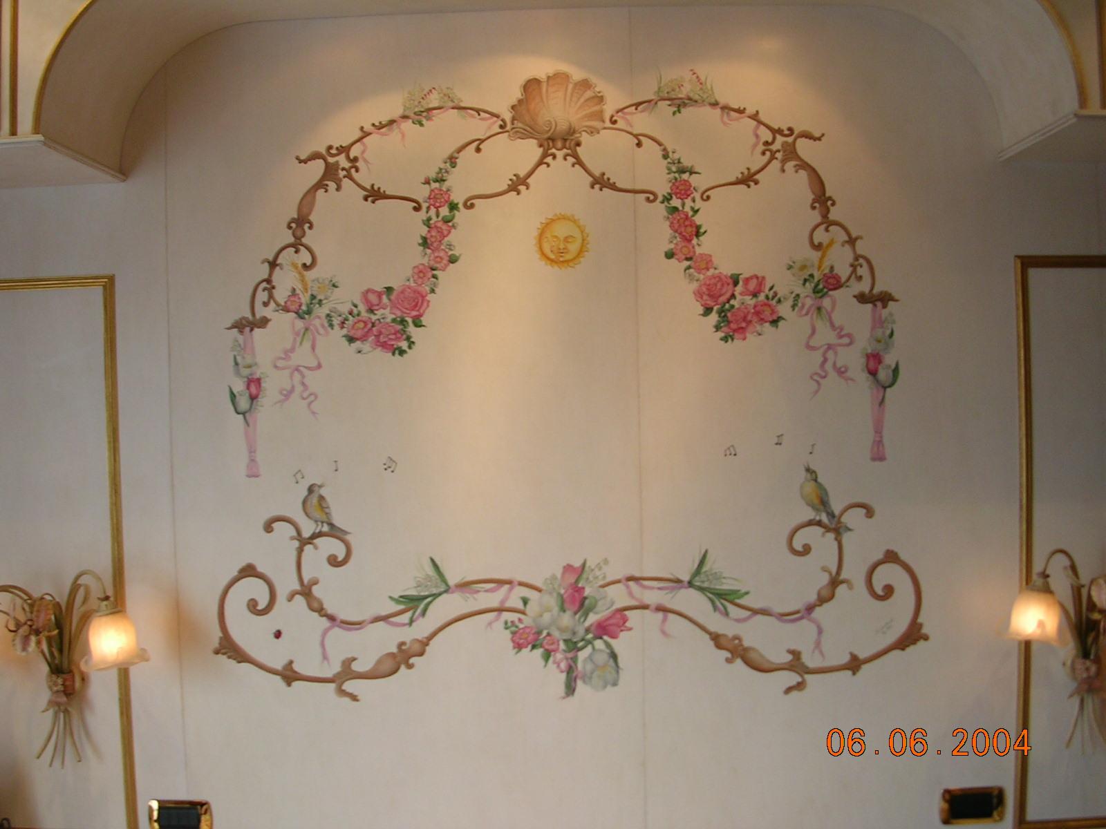 Decorazione di interni - Trompe l'oeil - Camera da letto - pittura - olio su legno